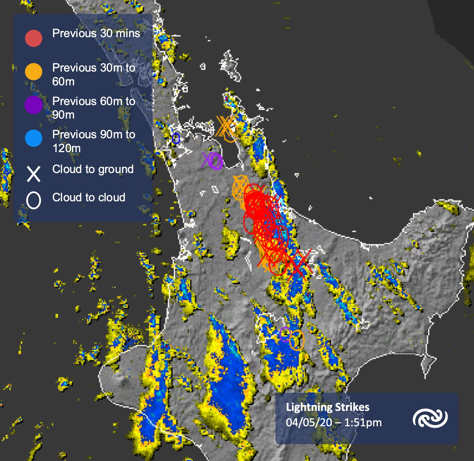 Lightning over the North Island  A cold front has triggered thunderstorms over the Kaimai ranges.   You can see the radar in real time bit.ly/BayOfPlentyRad…   ^Tui https://t.co/ftgkUY3p8I