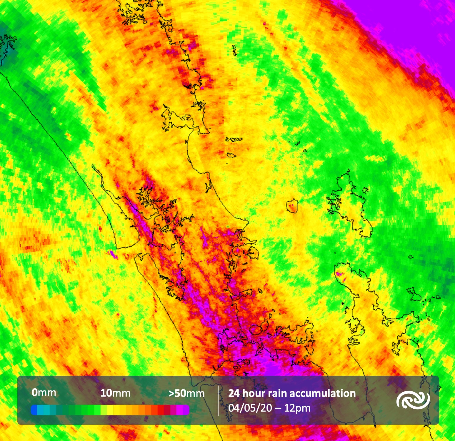 We keep talking about the rainfall last night, and in particular Auckland was rather excited to see some! So here's the 24 hour accumulations to midday today for Auckland.   ^Tui https://t.co/BuzNpHDHRT