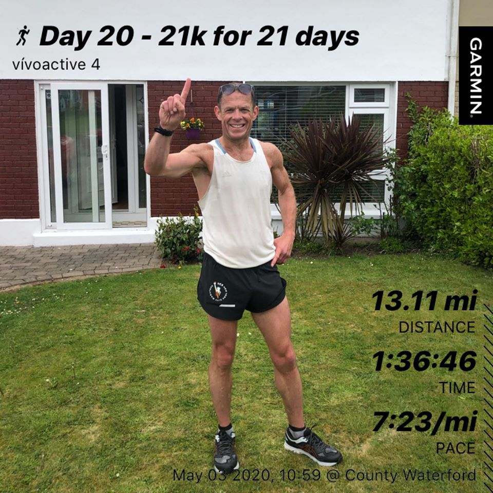 Day 20 Complete - 21k for 21 days . 1 day to go (21km) & will give it a right kick tomorrow on the final leg.Humbled by the genorsity of people at this difficult time.The encouragement since day 1 has unbelievable.Donations to register.primoevents.com/ps/event/21kFo… Thank you. Frank Q #borntorun