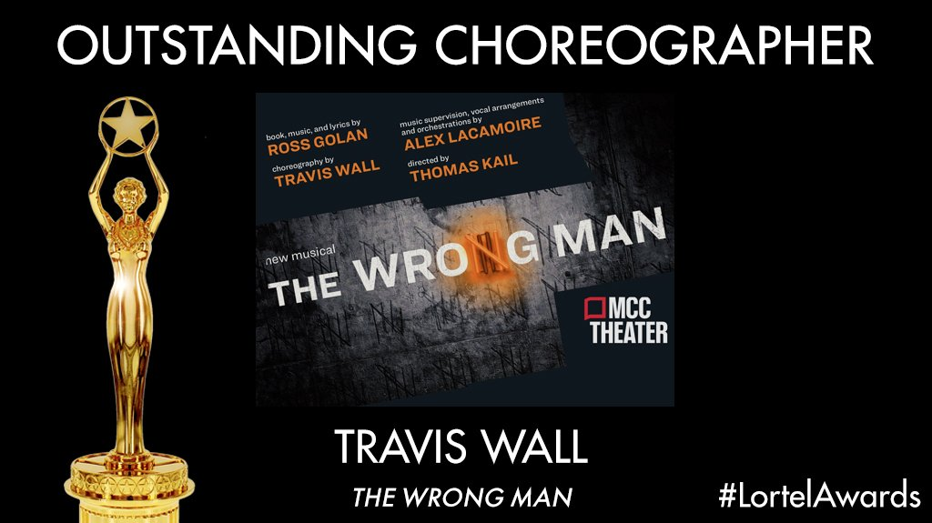 "The #LortelAwards Recipient for Outstanding Choreographer is @traviswall, ""The Wrong Man"" - @mcctheater https://t.co/8AwDfH0pfa"
