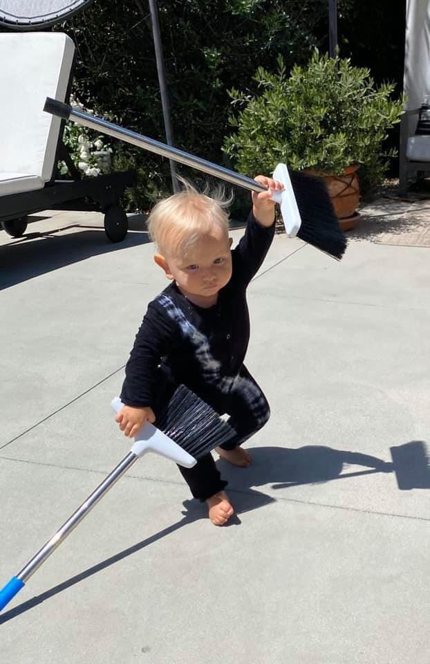 """Quarantine Day 53 - Filming """"Ninja Baby: The Way of The Broom"""" https://t.co/C8ejzlUtsR"""