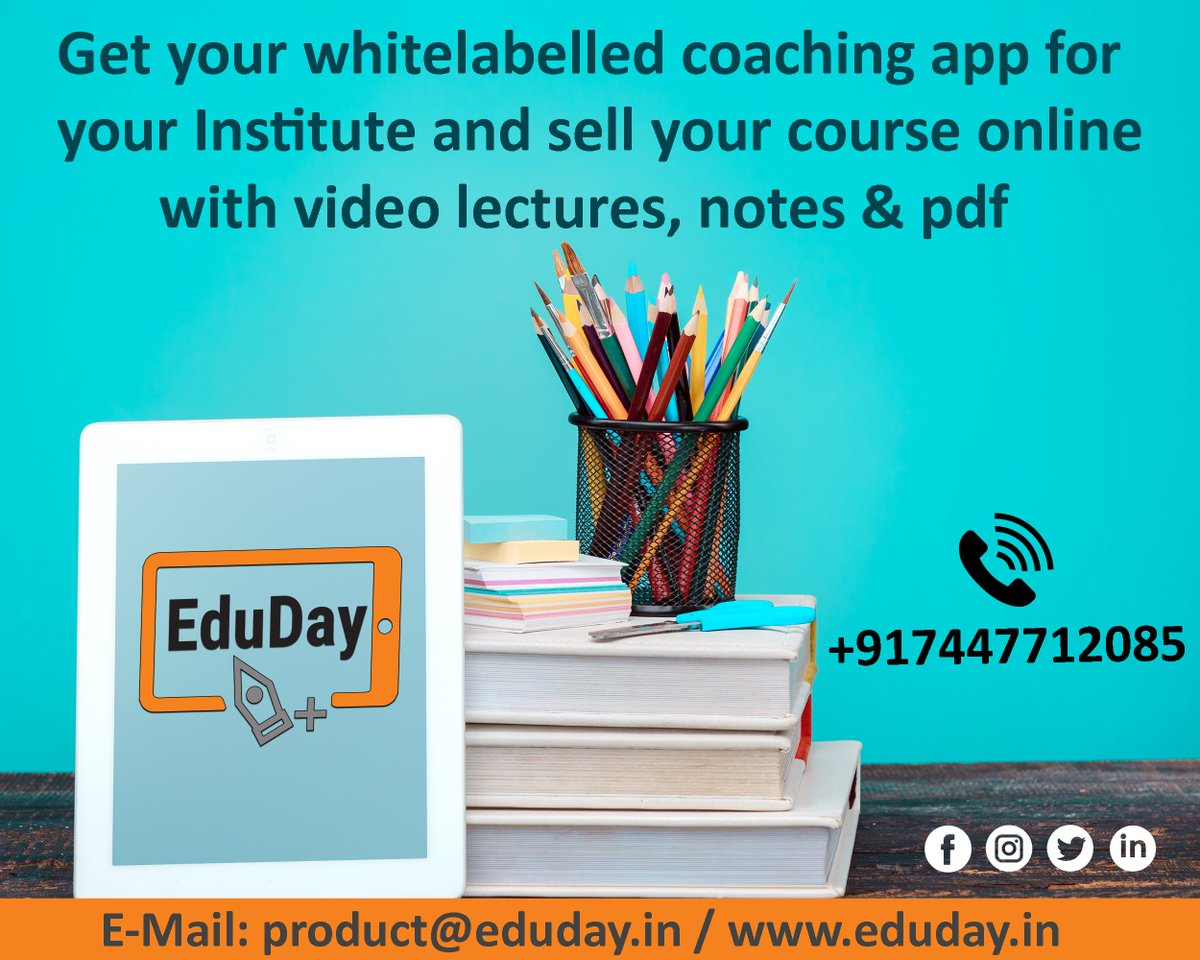 Transform Teaching, Inspire Learning and Deliver a world-class Student Experience.  Get in touch to know more:- Phone : +91 7447712085 E-Mail: product@eduday.in visit:- http://www.eduday.in  #eduday #edudayindia #pune #india #tab #tablets #CoachingInstitute #Coachingclassesspic.twitter.com/JiveuivWto
