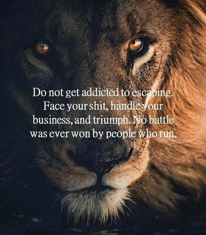 Do not get addicted to escaping. Face your shit, handle your business, and triumph. No battle was ever won by people who run.