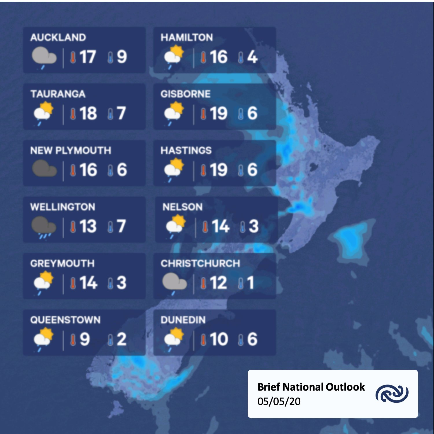 A sneak peak at the day ahead, here's a brief look ahead to the weather tomorrow. Full details at bit.ly/metservicenz    ^Tui https://t.co/Q1K3t2XpkA
