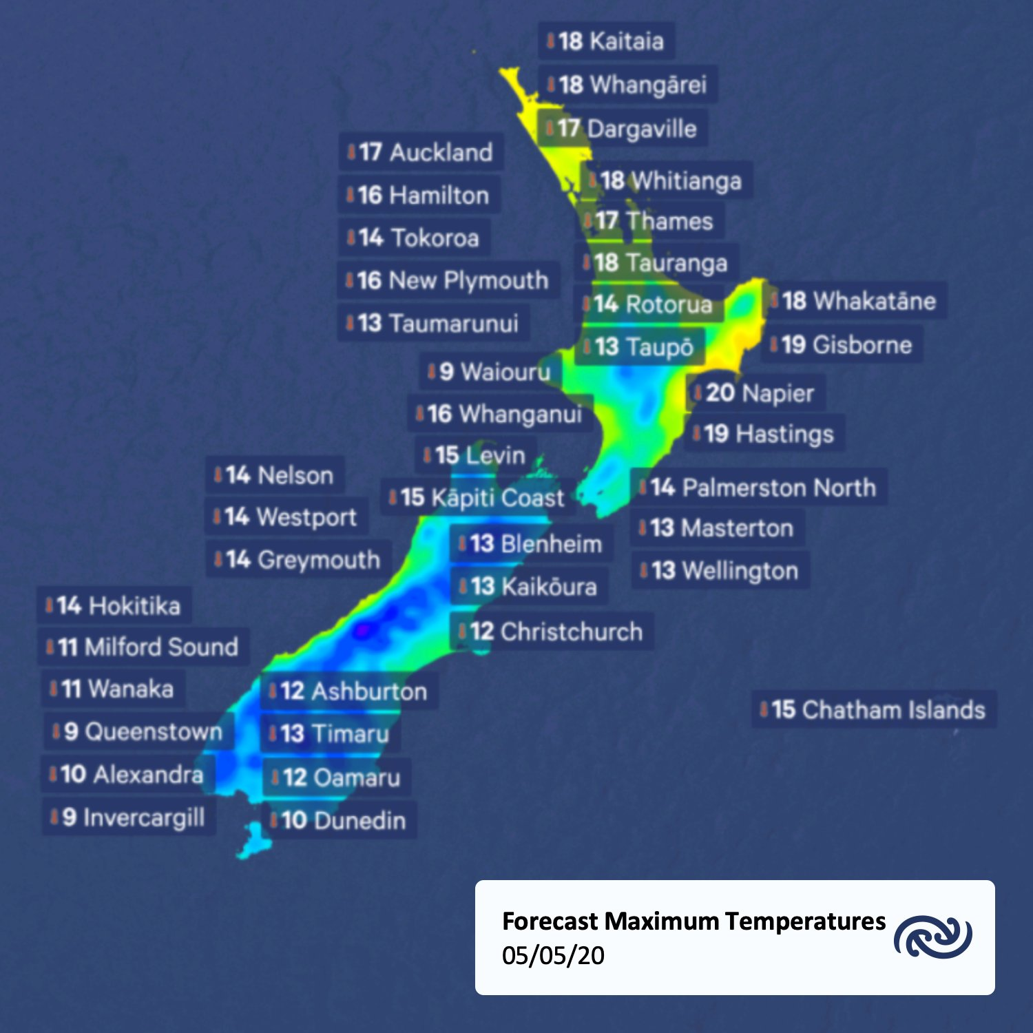 What about tomorrow's maximum temperatures...? Not looking too bad up north, but the southerly change makes things colder farther south!   Details at bit.ly/metservicenz    ^Tui https://t.co/Zu5uMyRORP
