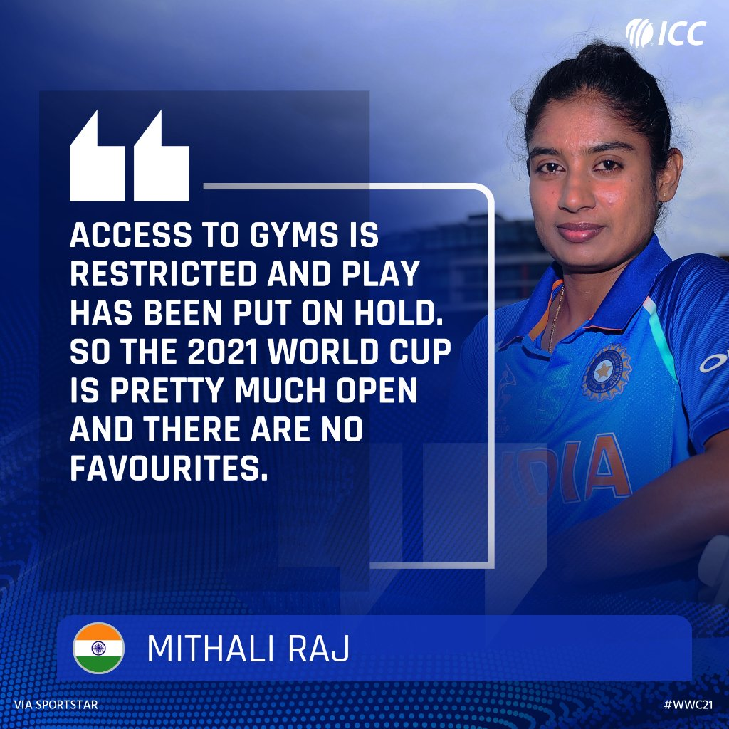 The break in cricket action at the moment will level the playing field at the 2021 ICC Womens World Cup, according to 🇮🇳 captain Mithali Raj.