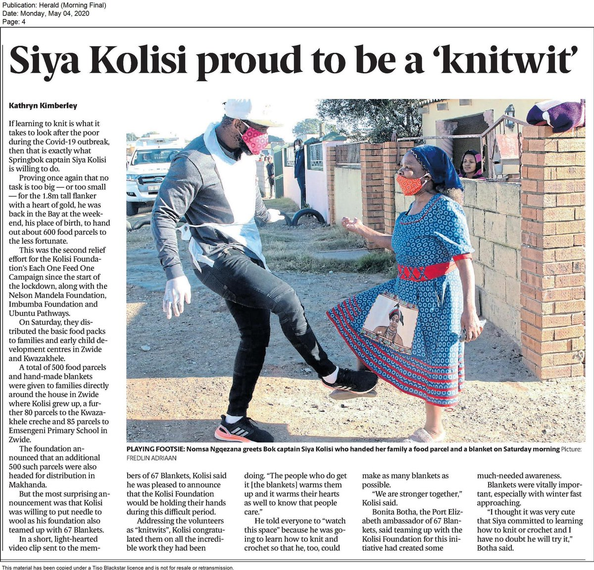 Thank you @HeraldPE for #blanketcoverage @67blankets #KnitWits are thrilled to be working with our National hero @siya_kolisi_the_bear @rachel_kolisi and @kolisi_foundation to assist people in need especially during this #covid19 crisis. #blankets #charity #crochet #knitting
