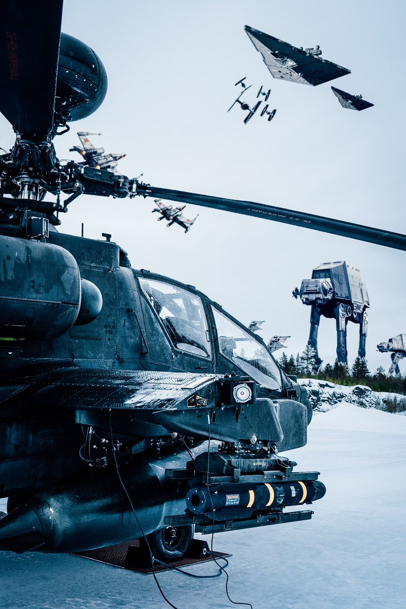 Battle of Hoth. 3 ABY.  ⁣ ⁣ #AH64 sit on the deck at Echo Base ready to launch. The delay in deploying this battle winning asset led to a costly defeat at the hands of the Imperial forces. ⁣ ⁣ Which side do you see our gunships flying for? ⁣ #maythe4thbewithyou ⁣ ⁣ https://t.co/NCShcJt9Om