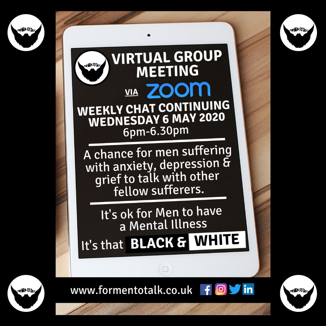 Our weekly 'Virtual Group Meeting' via Zoom continues Wed 6 May at 6pm. @formentotalk is a chance for men suffering with #anxiety #depression & #grief to talk with other fellow sufferers & improve their well-being. https://t.co/IFM8YsYN1V #mentalillness #menttotalk #HertsHour https://t.co/6yg5jB4g01