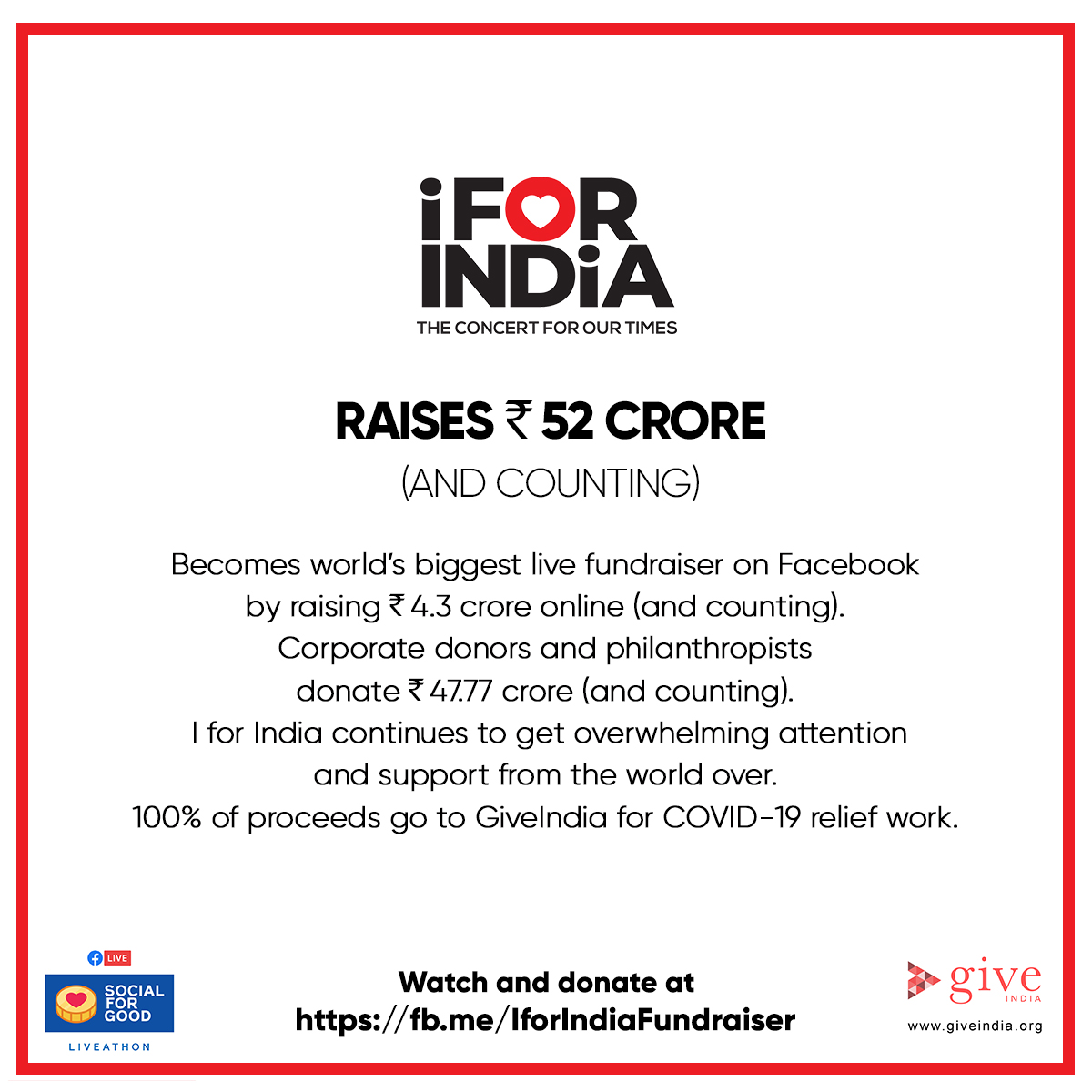 From our hearts to yours. Thank you for watching. Thank you for responding. Thank you for donating. #IForIndia started out as a concert. But it can be a movement. Let's continue to build a safe, healthy & strong India. I For India.