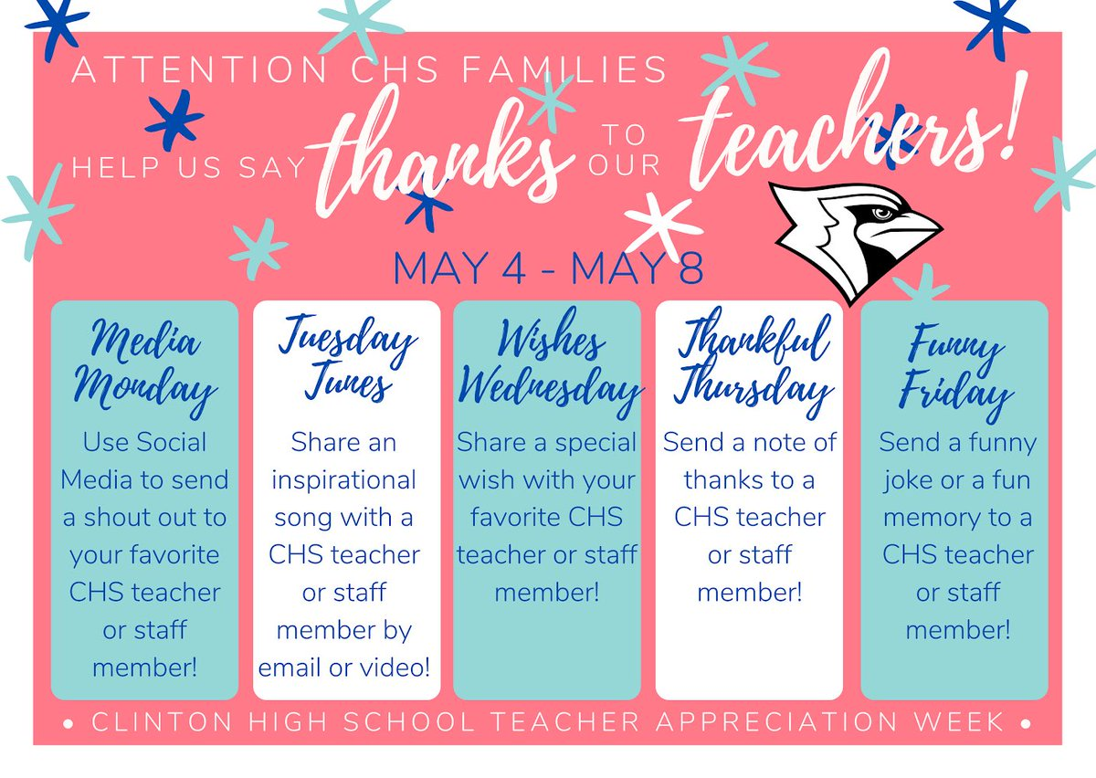 CHS Families we need your help celebrating our amazing teachers during our virtual #TeacherAppreciationWeek   Today, Take a moment to send a shout out to your favorite teachers over social media!  Tag CHSCards or Clinton Schools in the post!  #CardinalPride  #WeLoveOurTeachers https://t.co/zzNkYVsTaA