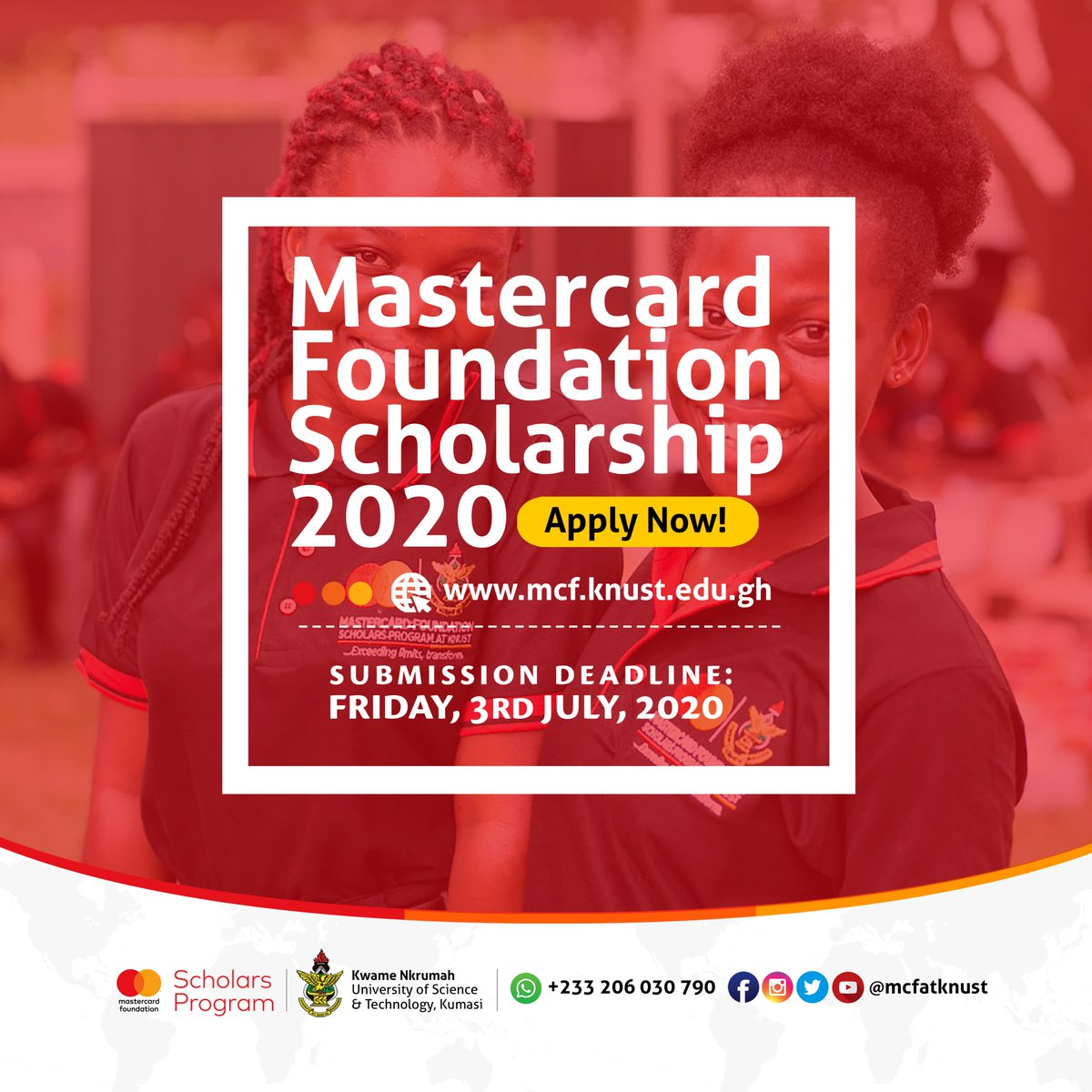 Deadline for Mastercard Foundation Scholarship, 2020 has been Extended. APPLY NOW!!