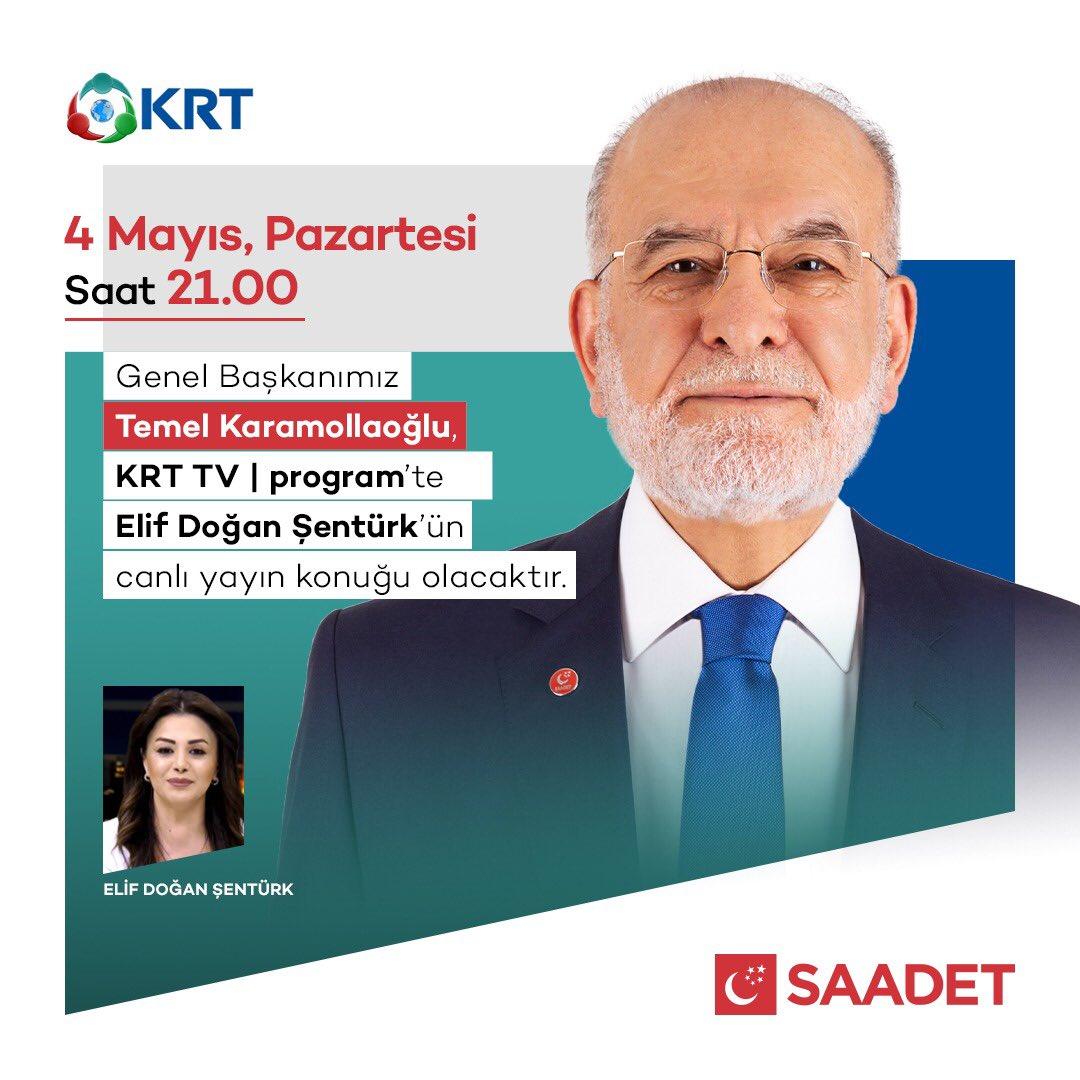 Genel Başkanımız Temel Karamollaoğlu, BU AKŞAM 21.00'da KRT TV'de Elif Doğan Şentürk'ün konuğu oluyor. https://t.co/GCaGmEM4QK