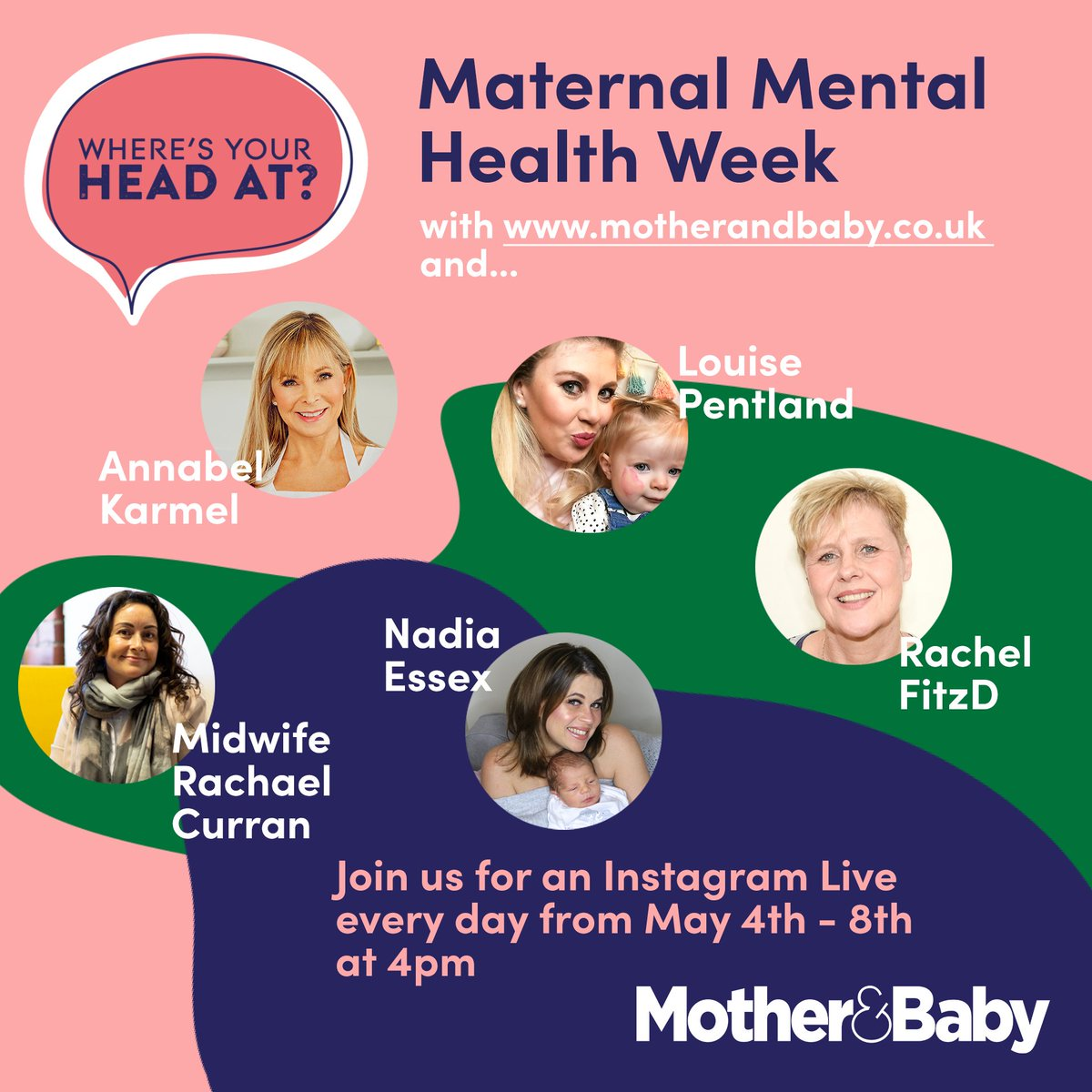 It's #maternalmentalhealth week and we're bringing you Instagram Live chats every day at 4pm over on our Instagram account with  @LouisePentland @LadyNadiaEssex @annabelkarmel @RDesorgher @wheresyourhead_  #WYHA https://t.co/CGCr8csaJu https://t.co/jZFUaQFkpD