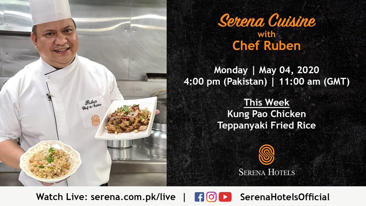 Cook along with Chef Ruben in your own kitchen while he shares the recipes of Kung Pao Chicken & Teppanyaki Fried Rice.  Watch Live on Monday, 4th May at 4:00 pm (PST)   11:00 am (GST) on https://t.co/CKL9uloMfi or FB/YouTube/Insta @SerenaHotelsOfficial  #StayHome #StayHealthy https://t.co/OrpobbPPhQ