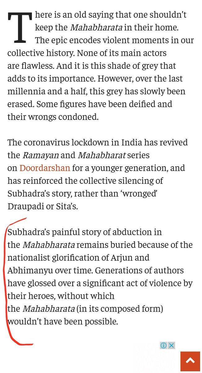 "They say Subhadra's ""Painful story of abduction""Remains buried because ""Nationalist"" glorification of Arjun and Abhimanyu. Aparantly nationalism is to blame for this."
