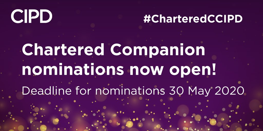 Now, more than ever, it's important that we recognise the contributions of people professionals to organisations & society, so we're delighted to announce that we have re-opened the Chartered Companion nomination process. Find out more ➡️ https://t.co/YLc37ibMyW #CharteredCCIPD https://t.co/XIr8730Bcz