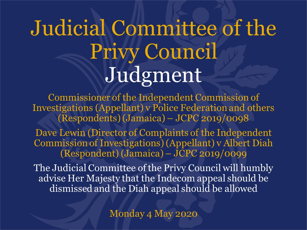 Judgment has been handed down this morning by the Judicial Committee of the Privy Council via video link in the following linked cases: jcpc.uk/cases/jcpc-201… and jcpc.uk/cases/jcpc-201…