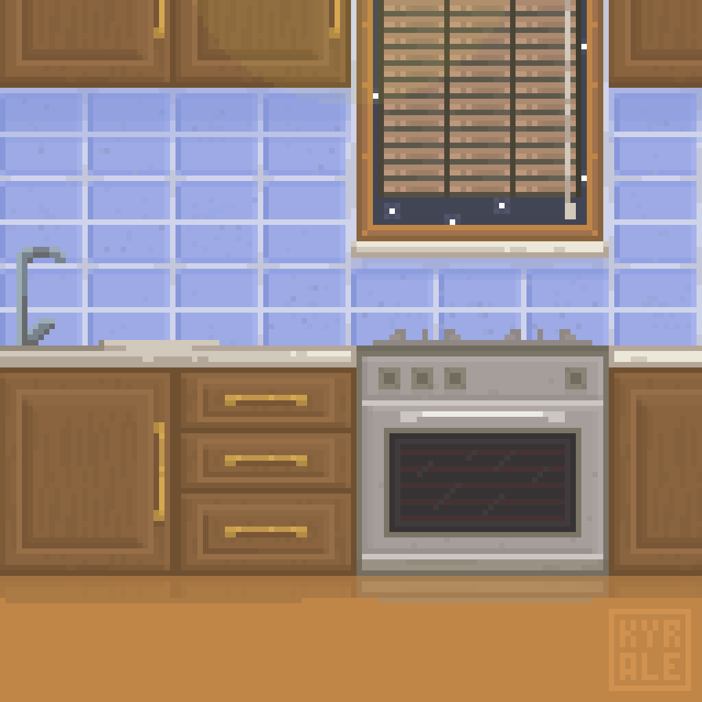 I wondered how am i at the interior so here's my little kitchen made in a hour. Hope you like it! #Aseprite #PixelArt #1HourChallenge pic.twitter.com/ObRJfA4yC3