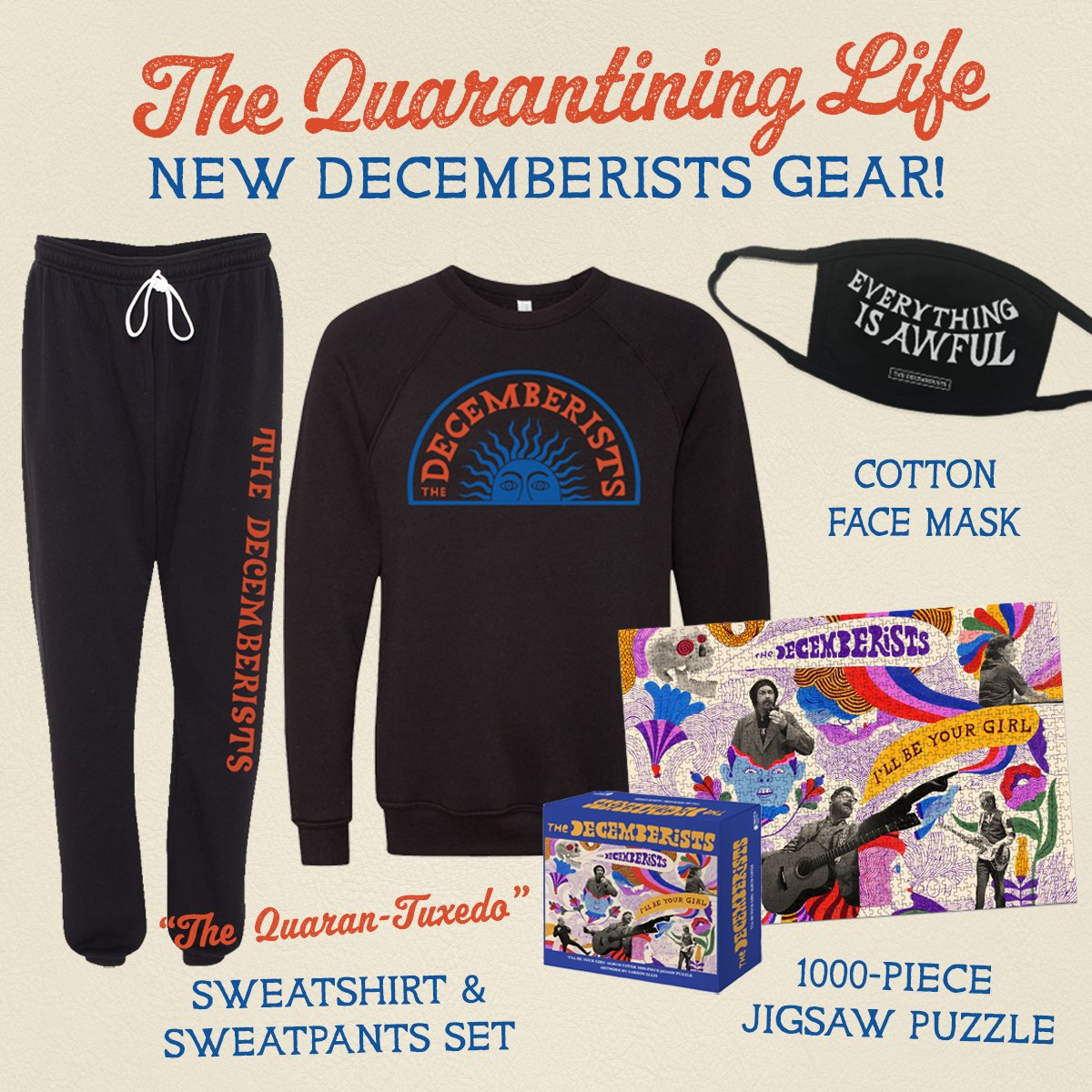 New gear for your quarantining life! Pick up a cozy sweatshirt / sweatpants set, a cotton face mask, and a 1000-piece jigsaw puzzle with 'I'll Be Your Girl' album art. All proceeds of the mask benefit the @MusiCares COVID-19 Relief Fund. Pre-order now: https://t.co/tQXvZEQgx3 https://t.co/5lKidpJUbZ