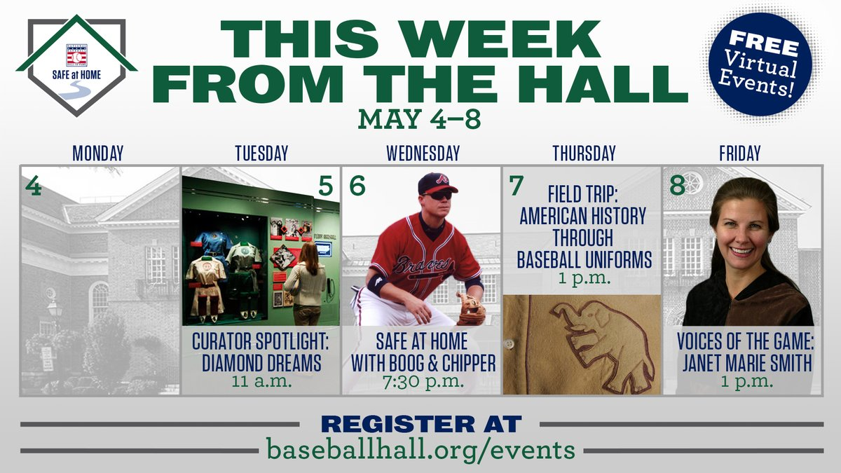 While we wait for live games to return, bring some baseball into your life this week with our lineup of virtual events. These free programs highlight women in baseball, ballpark architecture, uniform history and #SafeAtHome with @RealCJ10 and @BoogSciambi https://t.co/mX4yVuP06e https://t.co/NsGICrKepF
