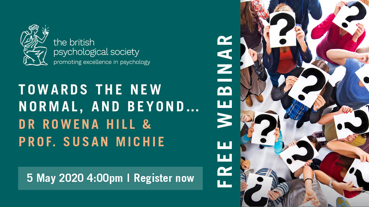 As landscapes shift what will the new normal look like ?  Join @SusanMichie  @hill_rowenahill  @KathRawe  discussing:-  'Towards the new normal and beyond'..  Secure your place now for tomorrow's webinar https://t.co/2cwweioRJB  Hosted by @jonsutton @psychmag  #PsychGov https://t.co/E6Do0zg7AB