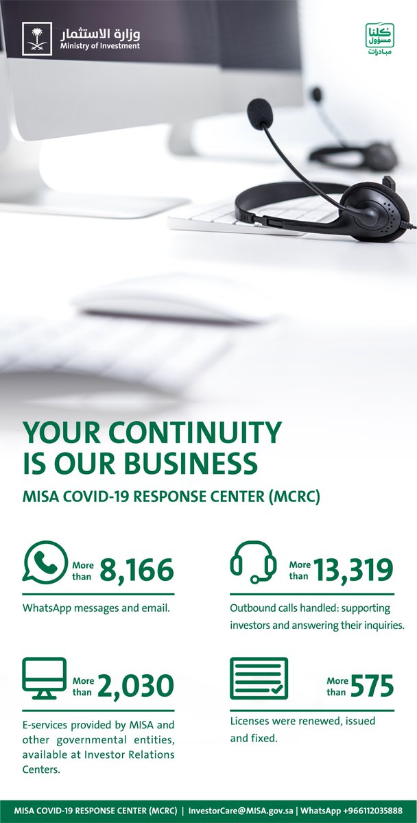 Your Continuity is our Business.   Do not hesitate to contact the #MISA COVID-19 Response Center (MCRC) to support you.   WhatsApp📱: +966112035888 Email📧: InvestorCare@MISA.gov.sa https://t.co/L3xJMJfG8t