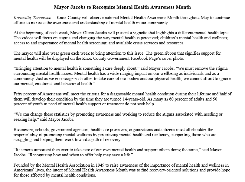 Knox Co Government On Twitter Knox County Will Observe National Mental Health Awareness Month Throughout May To Continue Efforts To Increase The Awareness And Understanding Of Mental Health In Our Community Https T Co Cmlhkljef3
