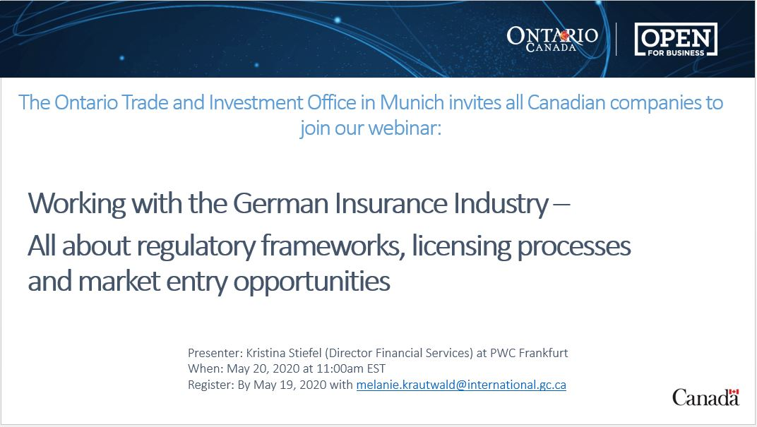 Great opportunity for #Canadian #fintechs to learn more about the German insurance industry. Organised by @OntarioGermany, open to ALL #CdnBiz! https://t.co/aj52zvugLf