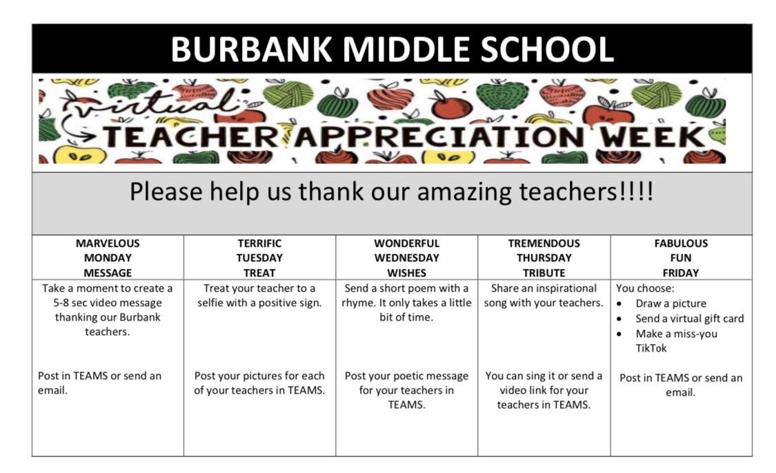 Burbank students, help us celebrate #TeacherAppreciationWeek2020! #BurbankEagles #BurbankTeachersSoar #wemissyoupic.twitter.com/TBVnigwY1I