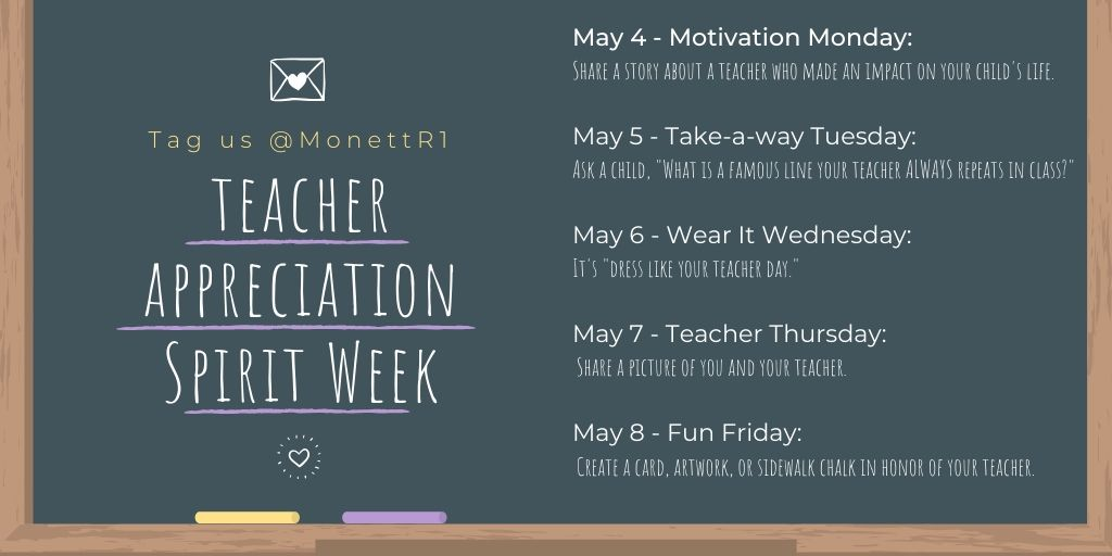 We are celebrating Teacher Appreciation Week from May 4th-8th! #ThankAMOTeacher #MonettR1
