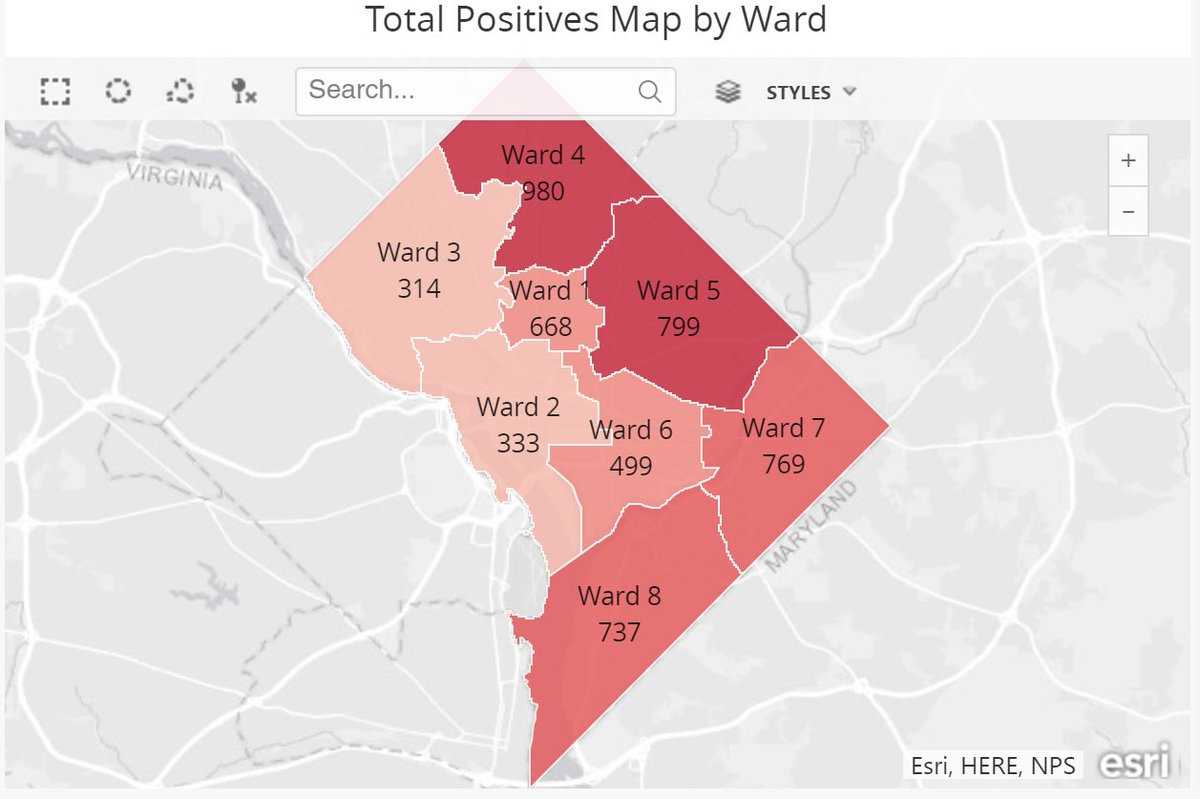 Updated Ward-level data for positive coronavirus (COVID-19) cases in DC. Visit https://t.co/pnawzxnrPZ for more information. #StayHomeDC https://t.co/JWa1m3LKq3