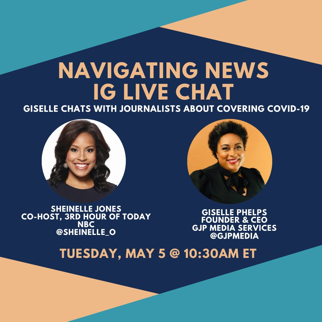 My next 'Navigating News' chat is tomorrow morning with @SheinelleJones !! Can't wait!! Join us!