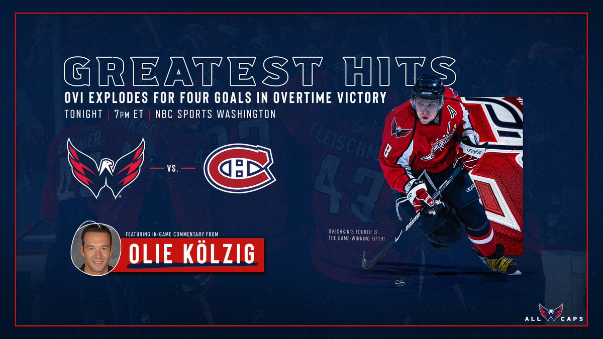 """In recent weeks, it's been a lot of fun  to look back in time at the @Capitals & @ovi8. Tonight, it is just a """"gentle"""" four-goal game from Alex against Montreal. Please join me, @Laughlin18 and @OlieKolzig37 for the discussion beginning at 7 pm E on @NBCSWashington. #ALLCAPS https://t.co/1YGFJaMbaA"""