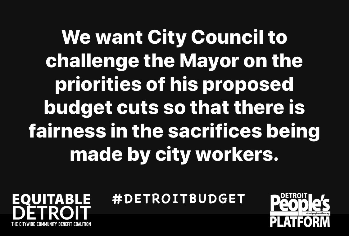 Our demands for tonight's Proposed Budget Hearing in #Detroit