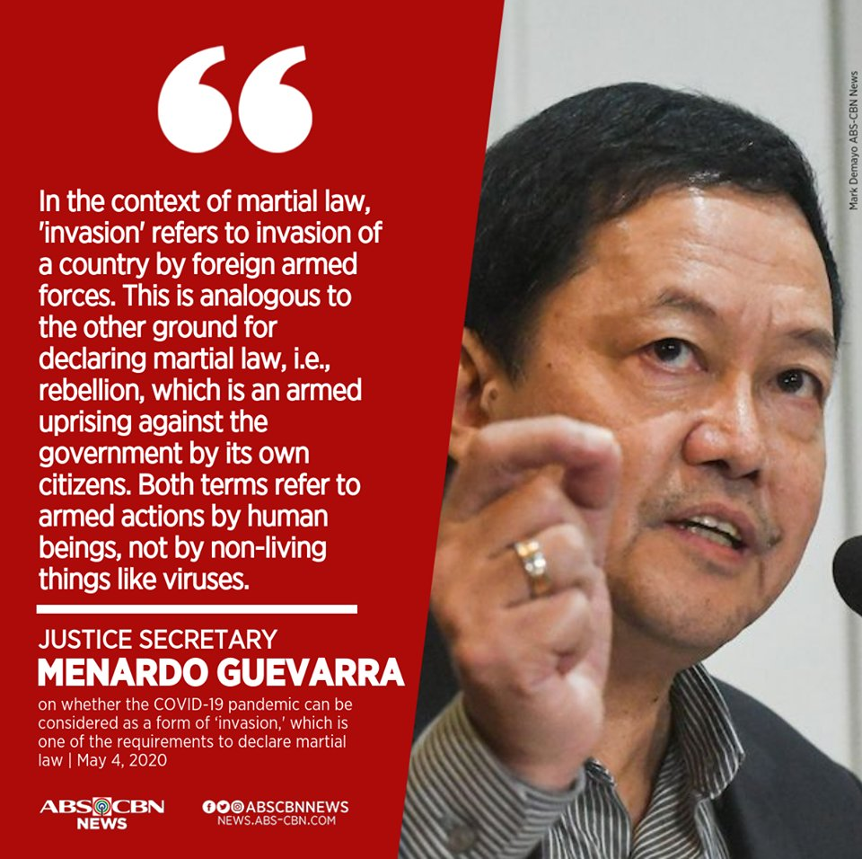 "Justice Secretary Menardo Guevarra rejects Panelo's ""COVID-19 invasion"" as martial law basis remark. https://t.co/lEzkdjW7Jz https://t.co/wZ2o3ghH0Z"