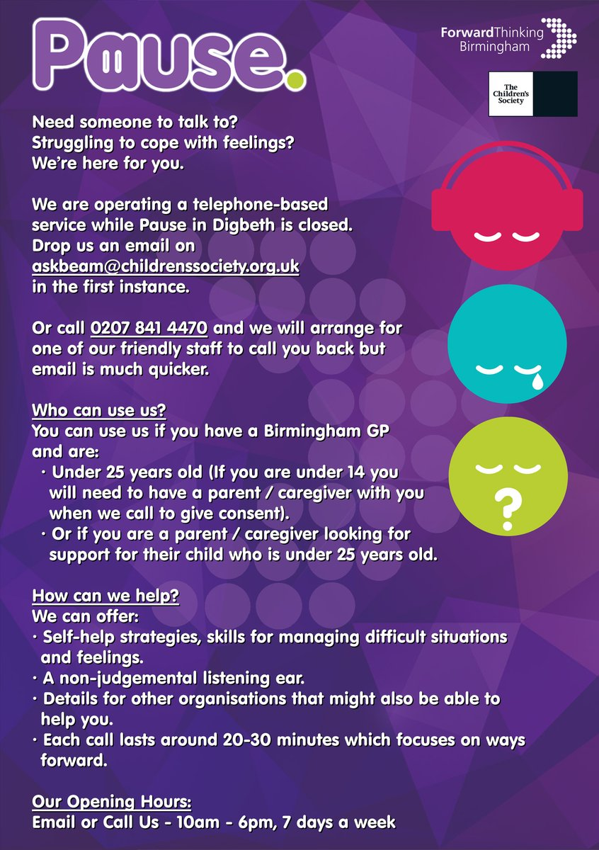 Thanks @BrumPartnership for sharing this. Pause is offering a call back service for: Young people under 25 years old who have a Birmingham GP. Families with Birmingham GPs who want support around a child/young person under 25 years old. See Flyer. @childrensociety