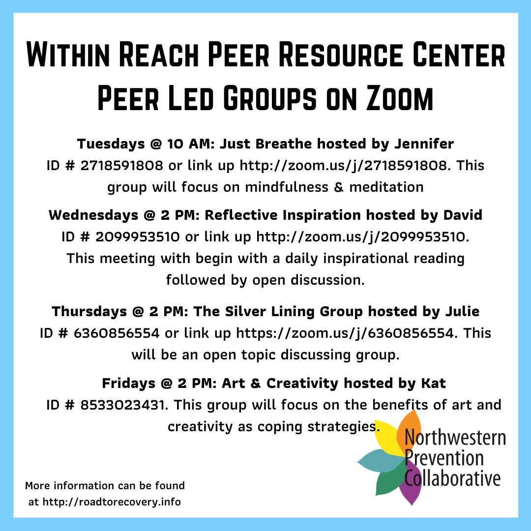 Supporting connection is especially important in this time, to ensure isolation doesn't lead to relapse. Here's a list of The Within Reach Peer Resource Center's virtual groups. #Everyonehasarole https://t.co/1LrXBX2ovV