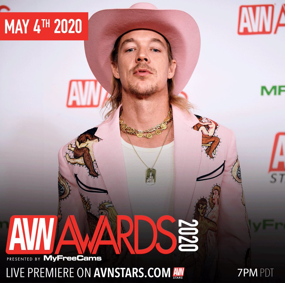 Our favorite cowboy @diplo rocked the red carpet and the stage at the #AVNAwards. Be sure to watch tonight on Stars.avn.com/AVNAwards