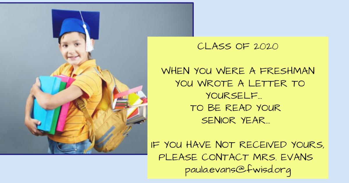 Seniors! Important message from Mrs. Paula Evans.