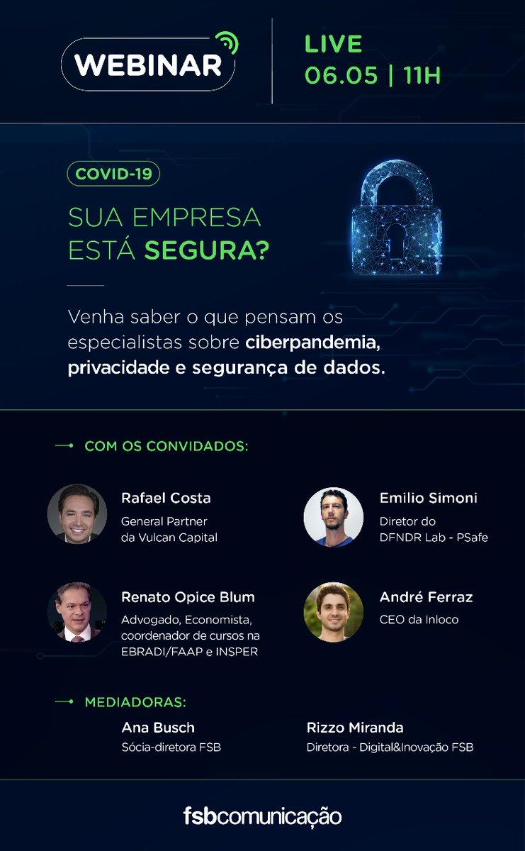 Você sabe o que é ciberpandemia? Como proteger a #privacidade das pessoas e a segurança dos dados em posse das empresas durante o #coronavirus? Saiba mais se inscrevendo neste webinar, promovido pela FSB: https://t.co/cizrPZtIMz https://t.co/7vAMqUNaKq