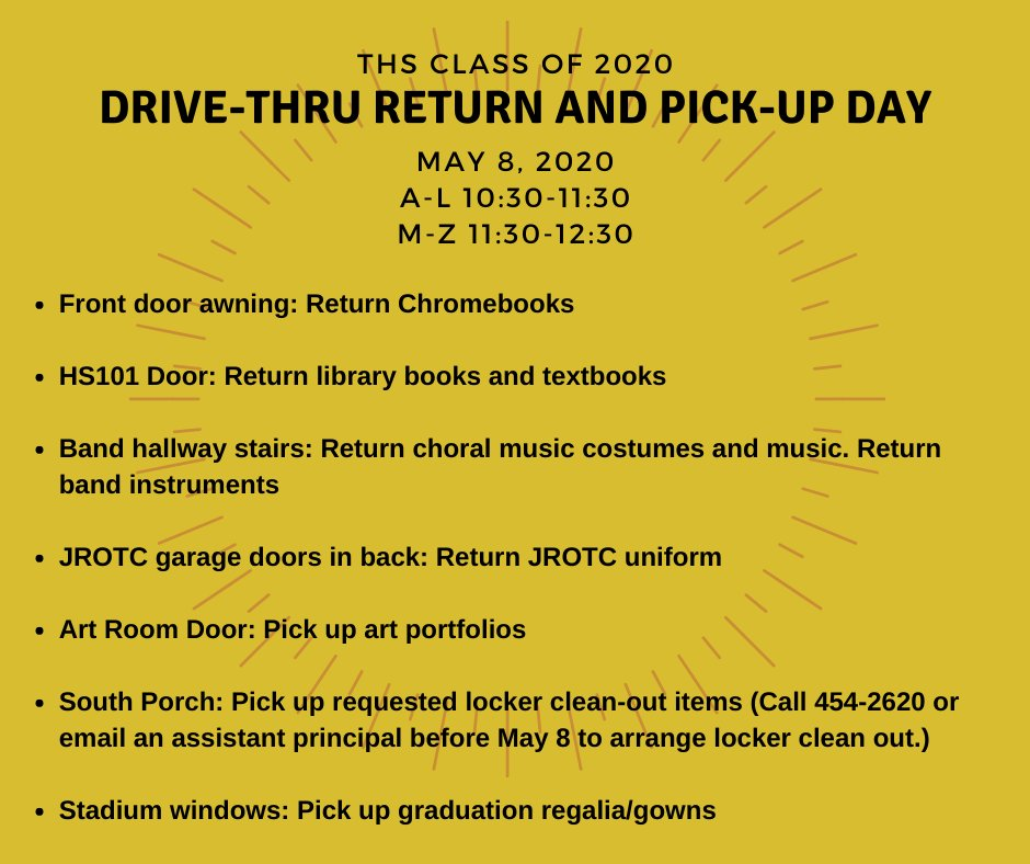 Check out these graphics for drop-off and pick-up events at THS for grades 9-12. https://t.co/yAZAN4oyni