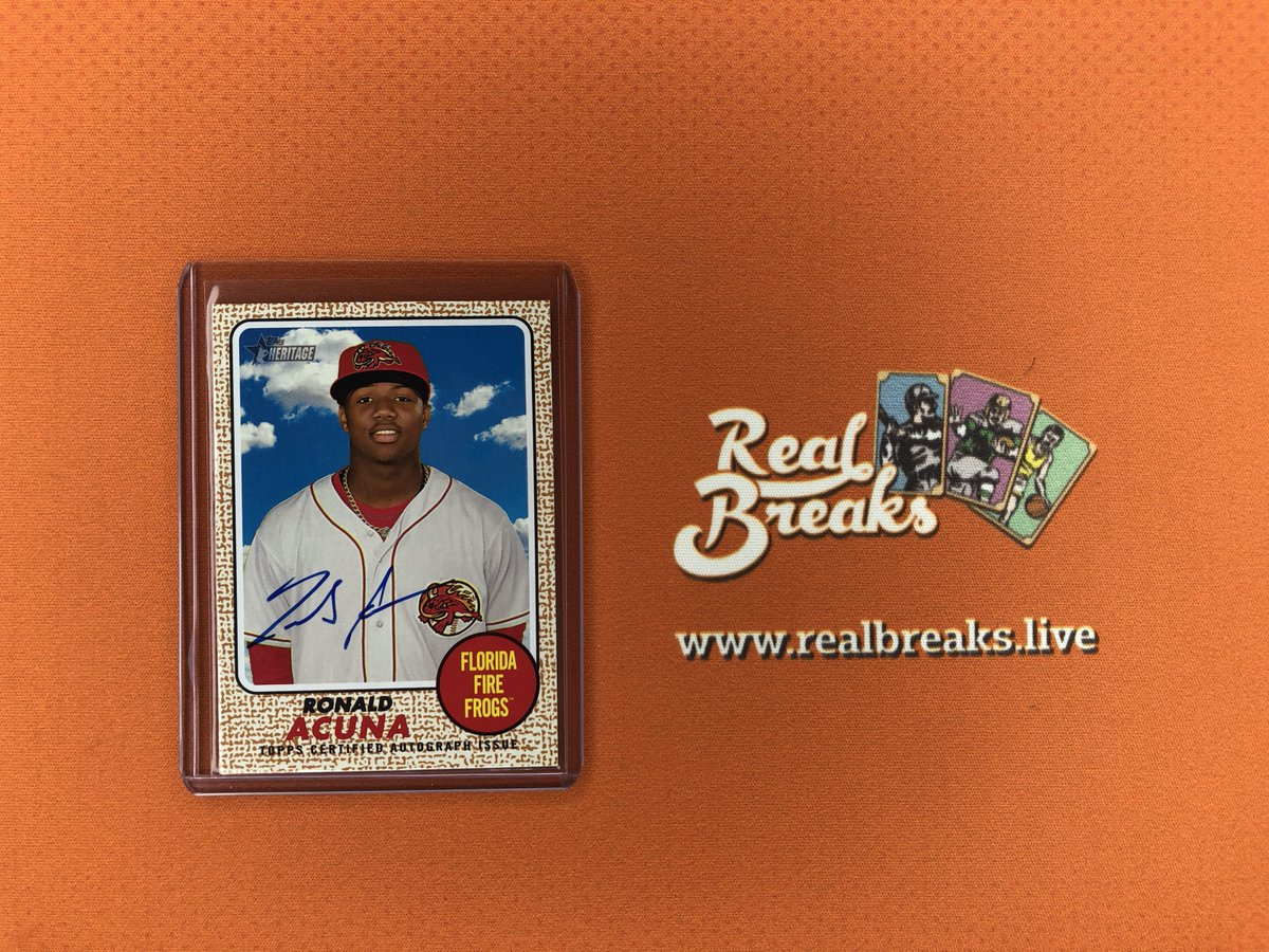 2017 Topps Heritage Minors Ronald Acuña Jr Real One Auto . . . @Topps #realbreaks #boompoodle #whodoyoucollect #topps #toppsbaseball #toppsheritage #heritagebaseball #casebreak #groupbreak #mlb #baseball #baseballcards #rookie #rookiecard #ronaldacunajr #acunajr #braves #choponpic.twitter.com/INL01kwQIU