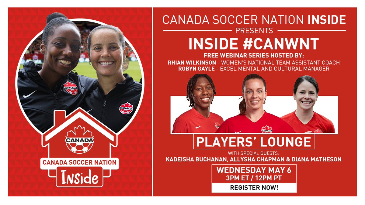 Have you registered for Episode 1 of Inside #CANWNT?  The series will kick off this Wednesday with a live Player's Lounge featuring current #CANWNT members Kadeisha Buchanan, Allysha Chapman & Diana Matheson!  Register here: https://t.co/ZEnsPk7kPc https://t.co/EzBBzvFiFO