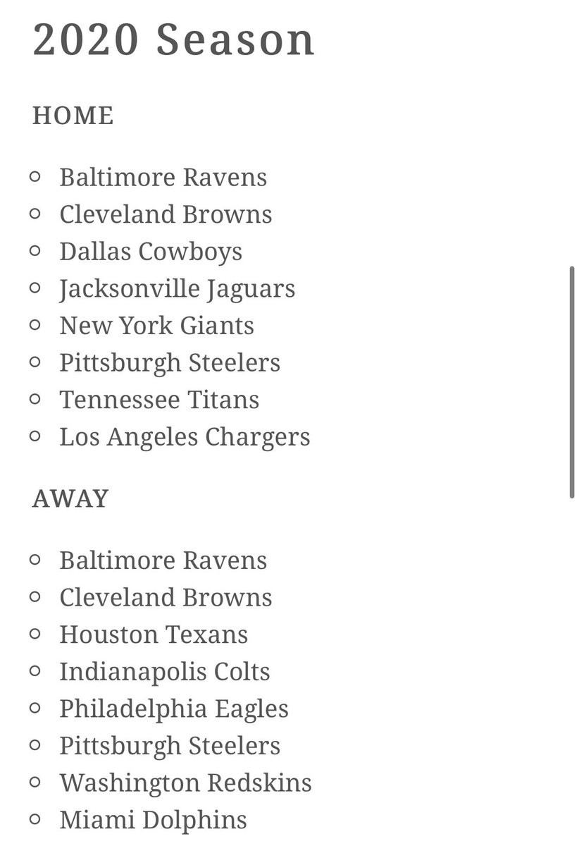 Bengals 2020 home and away opponents.