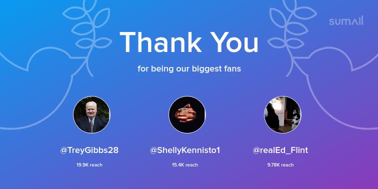 Our biggest fans this week: TreyGibbs28, ShellyKennisto1, realEd_Flint. Thank you! via https://t.co/OrbgBWfrSF https://t.co/4vKi6xqHWG