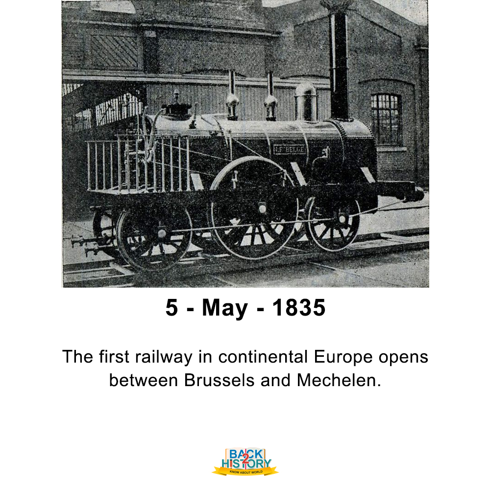 5 - May - 1835 – The first railway in continental Europe opens between Brussels and Mechelen. #History #WorldHistory #Back_2_History #BacktoHistory #Back2History #Onthisday #OnthisdayinHistory #Historymemes #WorldHistorymemes #Firstrailway #FirstrailwayinEurope #Europe #Brusselspic.twitter.com/6oT7T0ZDNO