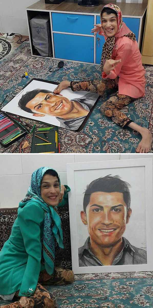 😊 🎨 👩‍🎨 What's your excuse? #dailymotivation #inspiration #art #portrait #cristianoronaldo #CR9 .@Cristiano #belk #FatemeHamami #iran https://t.co/HWr6t0dLO1