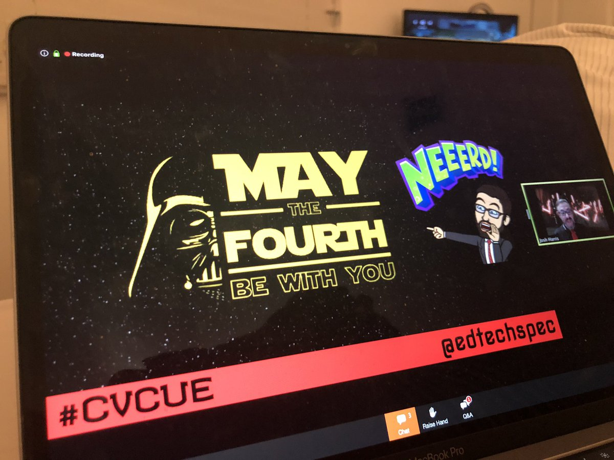 .@EdTechSpec IS ALREADY ROCKING his #CVCUE Closing Keynote! Getting nerdy with my #WeAreCUE family always makes my heart happy! 💚🙌🏼 #MayTheFourthBeWithYou