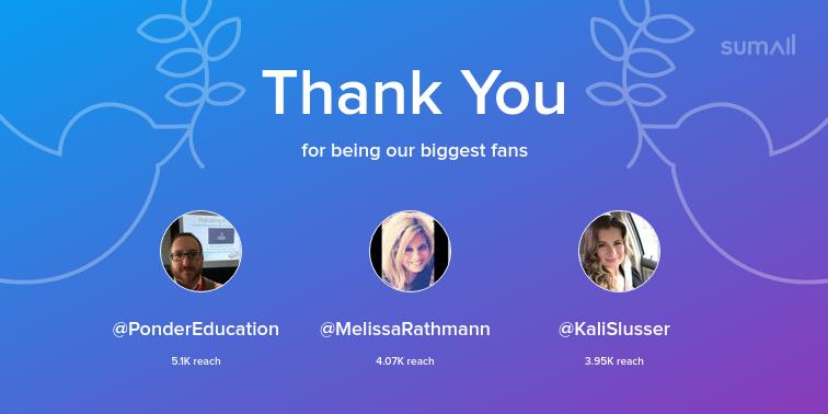 Our biggest fans this week: PonderEducation, MelissaRathmann, KaliSlusser. Thank you! via sumall.com/thankyou?utm_s…